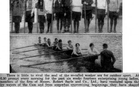 Cambridge Chronicle report on the Ladies Crew of 1929