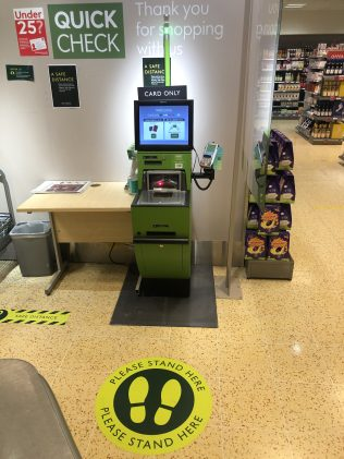 Safe distance stickers and screens at the self-service checkouts | Jake Townsend - ATM Buckingham