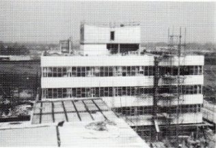 The office nears completion in 1971.  The builders allowed for growth by building the lift shaft so it could acccommodate a fourth floor - little did they know that two extra floors would be required