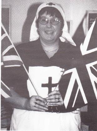 Julie Gardiner dressed as a nurse