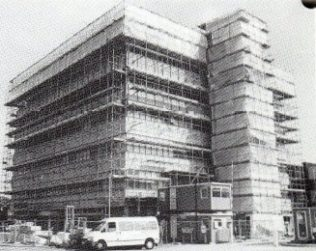 The Bracknell Office block is under wraps in August 1986 while being refurbished