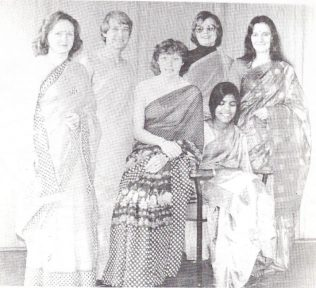 L to R: Margaret Billings, Pat Maycock, Jennie Wilson, Janet Owen and Stephanie Nye.  Sitting at the right Davey Roy