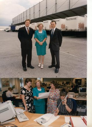 Bracknell West Warehouse, Chris Frewer, Pam Sage and Rob Thompson. Below Pam with Jenny Theobald, Jane Phenna and Elaine Booth | The Gazette