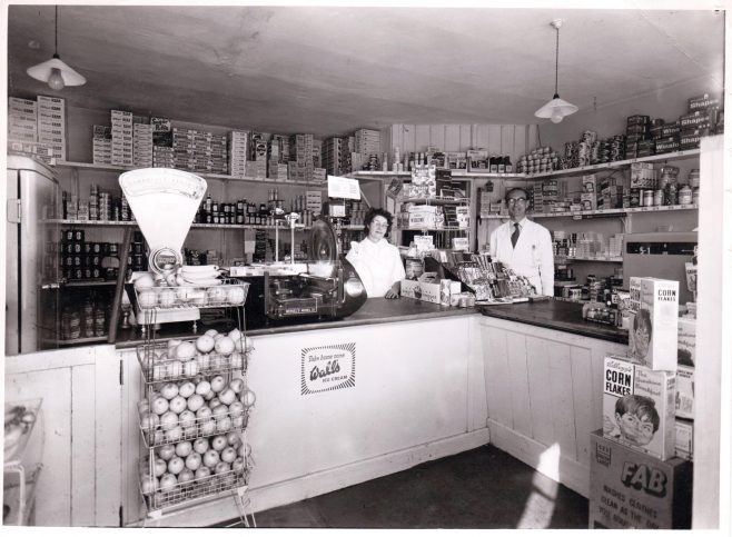 Leckford village shop 1965 - Mr and Mrs Last behind the counter | D S Herbert