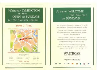 Sunday trading hours at Lymington   John Lewis Partnership archive collection