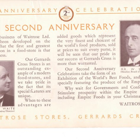 Gerrards Cross 2nd anniversary leaflet 1931 | John Lewis Partnership archives