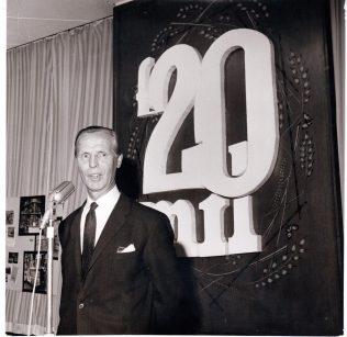 Sir Bernard Miller speaking at Waitrose £20 million turnover party 1969 | John Lewis Partnership archives