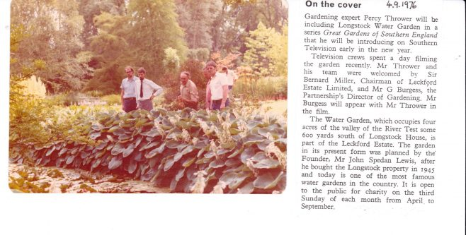 Percy Thrower at Longstock water garden 1976 | John Lewis Partnership archive collection
