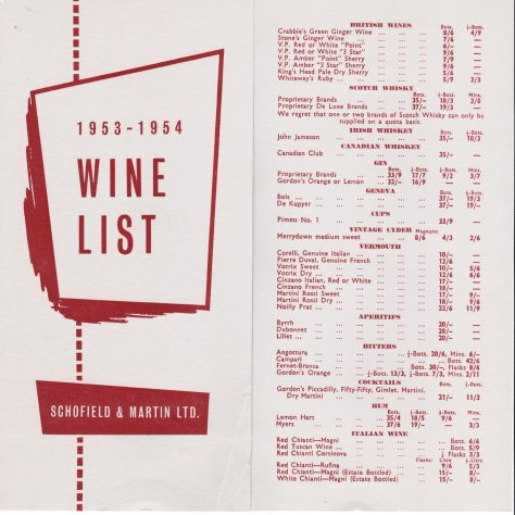 Schofield and Martin wine list c1953 | John Lewis Partnership archives