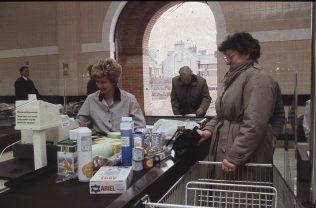 Checkout assistant Mrs Pam Smithers.   The Gazette