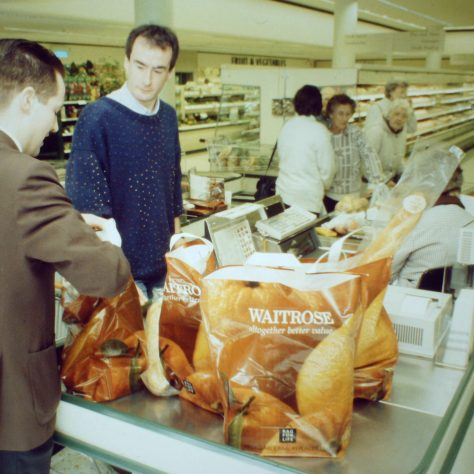 Andover checkouts 1990 featuring the first Bag for Life design | John Lewis Partnership archive collection