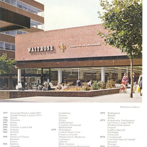 Andover exterior 1980 listing all Parternship supermarkets | John Lewis Partnership archive collection