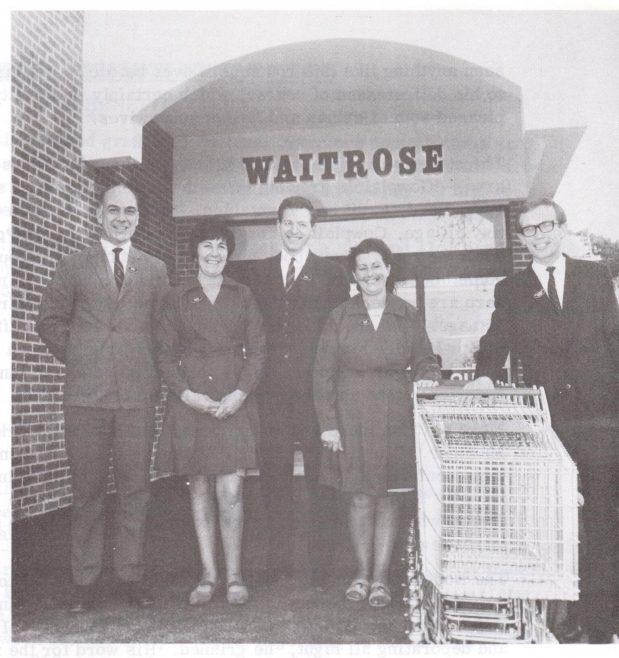 Cowplain 1969, l-r Jim Barber, deputy manager; Ethel Jones, checkout supervisor; BM David Lumb; Constance Jenkins, Branch Clerk; Brian O'Callaghan, Operations Manager   Waitrose Chronicle