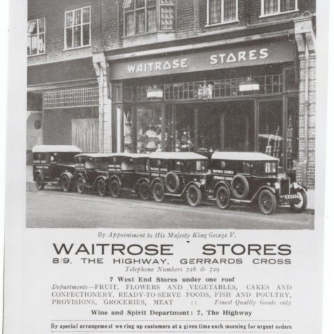 Gerrards Cross exterior with delivery vans 1930s | John Lewis Partnership archives
