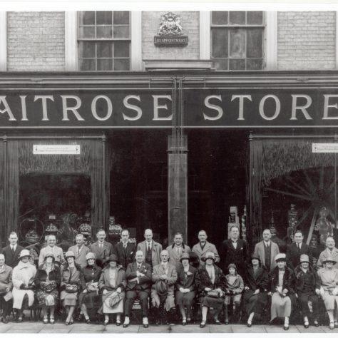 Waitrose Gloucester Road 1928, Mr Waite centre wearing spats | Grocers Gazette