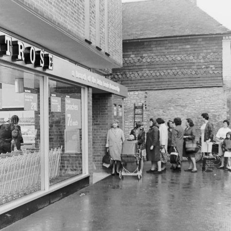 Customers queueing on opening day 1969 | John Lewis Partnership archive collection