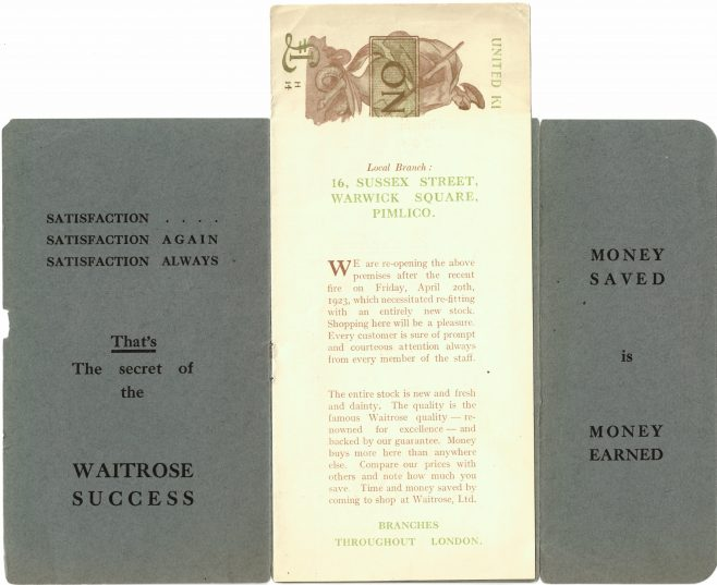 Waitrose Pimlico Publicity Leaflet 1923 | John Lewis Partnership Archives Ref:449/7