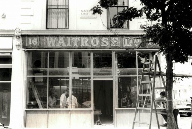 Waitrose Sign at 16 Sussex Street Pimlico 1984 | John Lewis Partnership Archives Ref: 2139/e/i/4