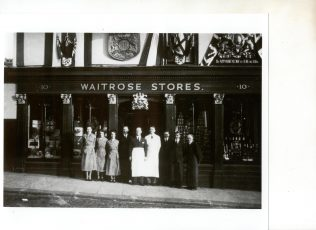 Waitrose Windsor 1937 decorated for Cornoation of King George VI | John Lewis Partnership archive collection
