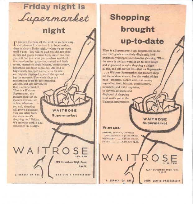 Supermarket advertising 1955 | John Lewis Partnership archive collection