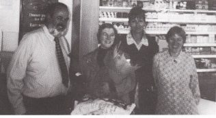 L to R: Delivery driver Joseph Humpris, Customer Mrs Epstein, Customer Service Assistant Elaine Driscol and Cashier Bridget Murphy